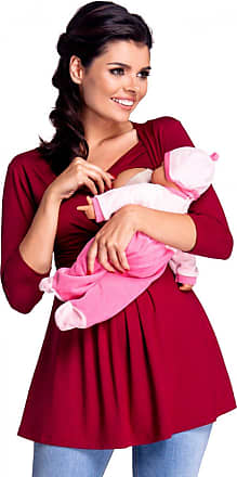 Zeta Ville Zeta Ville - Womens Maternity Nursing Top Layered Neckline Breastfeeding - 945c (Crimson, UK 10/12, L)