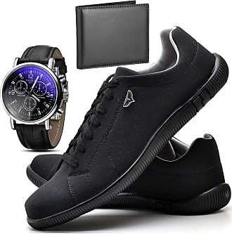 Juilli Kit Sapatênis Sapato Casual Com Relógio e Carteira Masculino JUILLI 920DB Tamanho:38;cor:Preto;gênero:Masculino