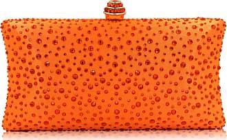 YYW Fashion Womens Glitter Clutch Bag Crystal Diamante Rhinestone Sparkly Evening Bridal Prom Party Handbag Purse (Orange)