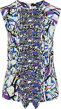 Etro Etro Woman Pleated Printed Silk Crepe De Chine Blouse Blue Size 44