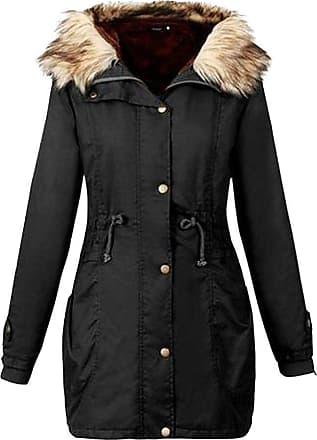 FNKDOR Ladies Womens Solid Winter Warm Parka Faux Fur Hooded Winter Long Coat Size Outwear (M, Black)