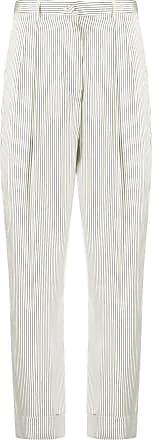 Hebe Studio Calça cintura alta com listras - Branco
