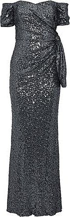 Badgley Mischka Badgley Mischka Woman Off-the-shoulder Ruched Sequined Tulle Gown Charcoal Size 10