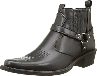 US Brass Eastwood Mens Harness Ankle Cowboy Boots Black UK 6
