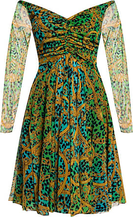 Versace Jeans Couture Patterned Dress Womens Green