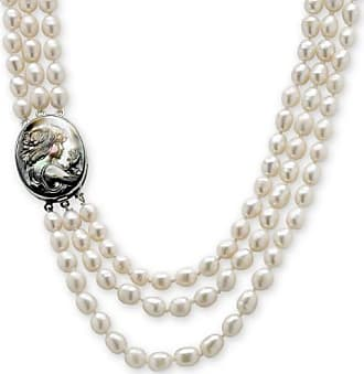 PalmBeach Jewelry Genuine Cultured Freshwater Pearl and Black Mother-Of-Pearl Cameo Triple-Strand Necklace 28