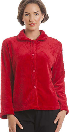 Camille Womens Supersoft Red Button Up Fleece Bed Jacket 16/18