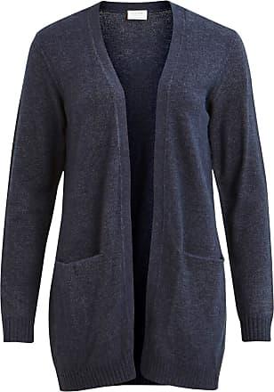 Vila Womens Viril L/s Open Knit Cardigan-noos, Blue (Total Eclipse Detail: Melange), 14 (Size: Large)