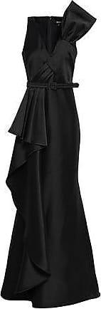 Badgley Mischka Badgley Mischka Woman Belted Draped Duchesse-satin Gown Black Size 2