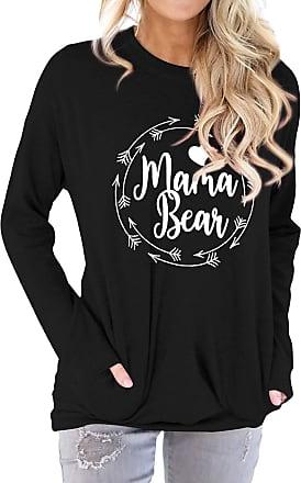 Dresswel Women Mama Bear Jumper Pullover Crew Neck Long Sleeve T Shirt Tops Sweatshirt with Pockets Black