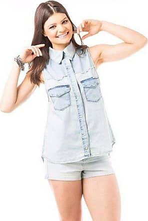 Eventual Camisa Jeans Feminina sem Manga Gabriela Pugliesi Eventual
