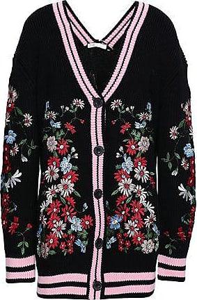 Maje Maje Woman Embroidered Knitted Cardigan Black Size 3