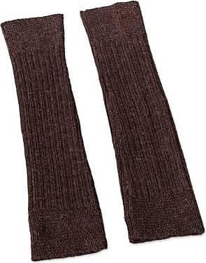 Novica 100% alpaca leg warmers, Brown Winter Dancer