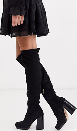 River Island faux suede over the knee heeled boots in black