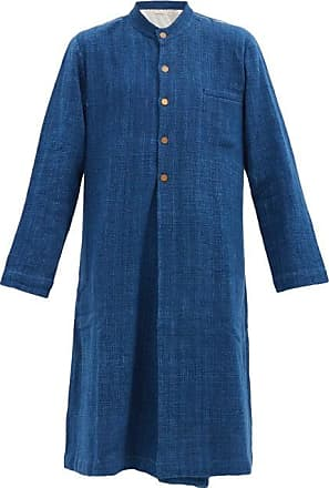 11.11 / eleven eleven 11.11 / Eleven Eleven - Embroidered Cotton-khadi Longline Jacket - Mens - Navy