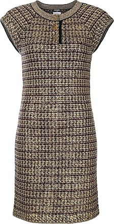 Chanel fitted knitted metallic dress