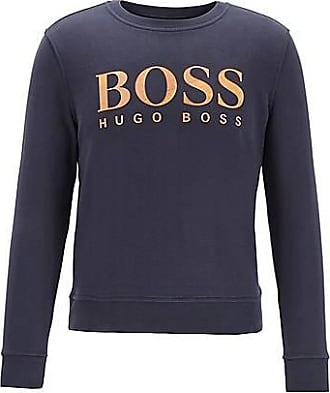 BOSS French-terry sweatshirt with mixed-print logo