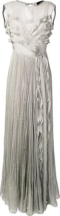 Irina Schrotter Vestido longo com babados - Cinza