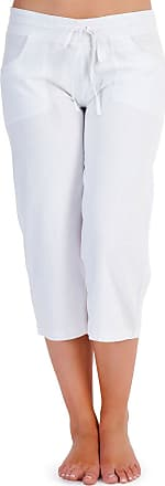 Tom Franks Ladies Soft Linen 3/4 Trouser Pull On Drawstring Casual Summer White Size 12