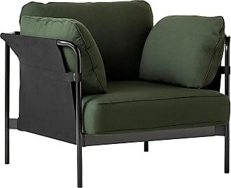 HAY Can 2.0 Sessel Gestell Stahl schwarz - dunkelgrün/Stoff Kvadrat Steelcut 975/Außenstoff Black Canvas/87x89x82cm/Gestell Stahl schwarz pulver