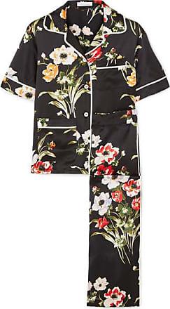 Olivia Von Halle Daria Floral-print Silk-satin Pajama Set - Black
