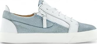 Giuseppe Zanotti White leather and blue glitter fabric low-top sneaker NICKI