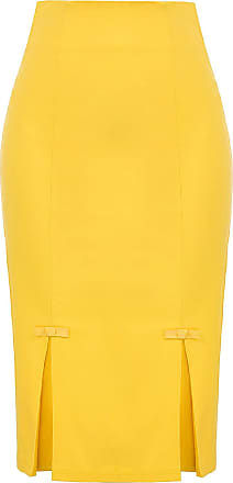 Belle Poque 1960s Ladies Elegant Office Party Formal Pencil Style Skirts Knee Length Yellow(587-8) Medium