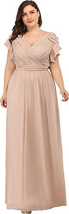 Ever-pretty Womens V Neck Ruffles Sleeve A Line Empire Long Chiffon Plus Size Bridesmaid Dresses Blush 12UK