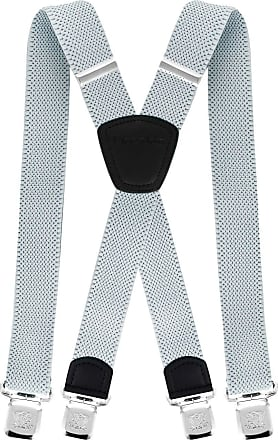 Decalen Mens Braces with Very Strong Metal Clips Wide 4 cm 1.5 inch Heavy Duty Suspenders One Size Fits All Men and Women Adjustable and Elastic X Form (Silve