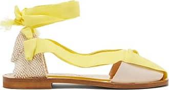 ÁLVARO GONZÁLEZ Teresa Wrap-tie Canvas Sandals - Womens - Yellow White