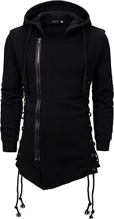 Hellomiko Mens Gothic Solid Color Creative Hoodie Dark Japanese Style Fake Two Piece Jacket Black