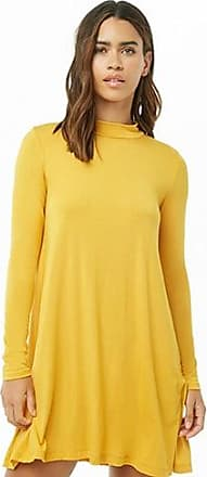 Forever 21 Forever 21 Slub Knit Cutout Swing Dress Mustard