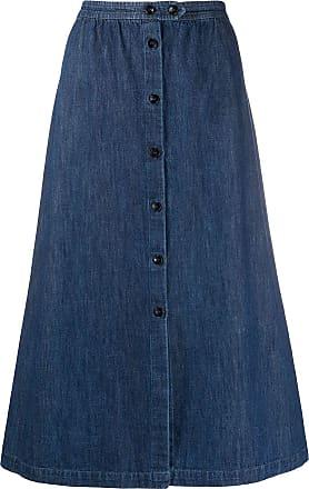 A.P.C. Saia jeans evasê - Azul