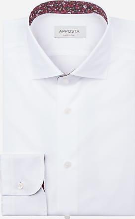 Apposta Camicia tinta unita bianco 100% puro cotone popeline doppio ritorto, collo stile collo francese aggiornato a punte corte