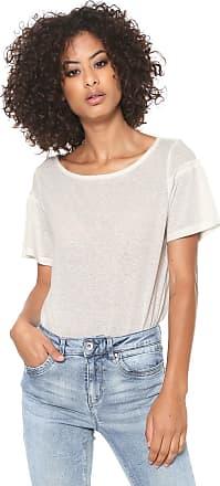Vero Moda Camiseta Linho Vero Moda Recorte Manga Off-white