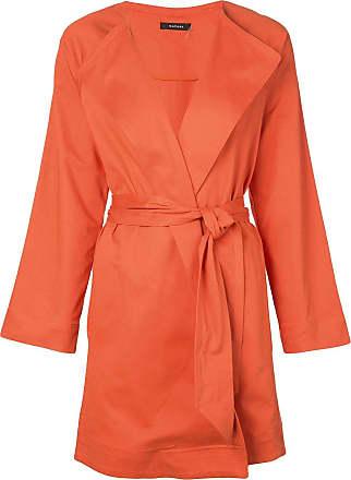 Natori Trench coat com cinto - Laranja