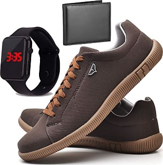 Juilli Kit Sapatênis Sapato Casual Com Relógio LED e Carteira Masculino JUILLI 920DB Tamanho:42;cor:Marrom;gênero:Masculino