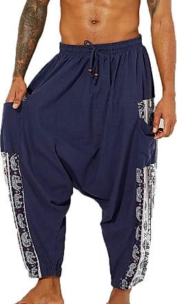 Hellomiko oneforus Mens Harem Pants Boho Hippie Wide Baggy Trousers with Drop Crotch Comfortable Elastic Waist Drawstring Pants Blue