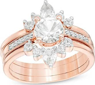 Zales Lab-Created White Sapphire and 1/20 CT. T.w. Diamond Three Piece Bridal Set in Sterling Silver with 14K Rose Gold Plate