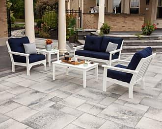 POLYWOOD Outdoor POLYWOOD Vineyard High-Density Polyethylene 5 Piece Deep Seating Patio Conversation Set - PWS332-2-BL5402