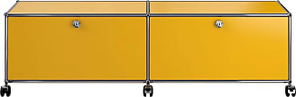 USM Haller Hi-Fi/TV Board mit 2 Klapptüren - goldgelb RAL 1004/mit Gegengewicht/152.3 x 43 x 37.3 cm/mit Rollen