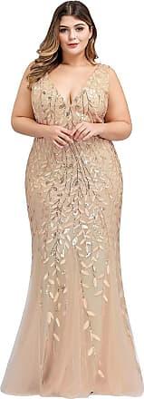 Ever-pretty Womens Sleeveless V Neck Floor Length Elegant Mermaid Plus Size Wedding Guest Dresses Gold 22UK