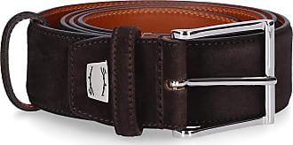 Santoni Men Belt CM35V00 Suede logo brown