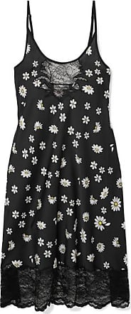 Paco Rabanne Lace-trimmed Floral-print Satin Midi Dress - Black