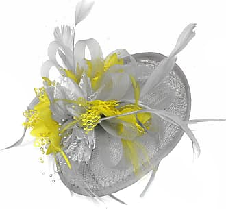 Caprilite Silver Grey and Yellow Sinamay Disc Saucer Fascinator Hat for Women Weddings Headband