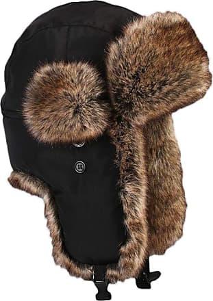 Insun Unisex Winter Trapper Bomber Hat with Ear Flaps Russian Ushanka Black 2 XXL Hat Circumference 24.8