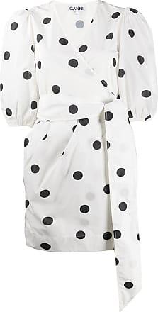 Ganni Vestido envelope com poás - Branco
