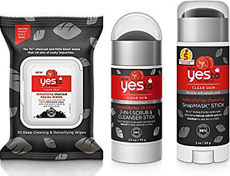 Yes To Charcoal Face Kit - Detoxifying for All Skin Types (Facial Wipes, Scrub & Cleanser Stick, SnapMask Mud Mask Stick)