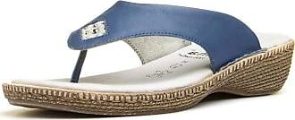 Jana Womens Blue Leather Toe Post Sandal - Size 6.5 UK - Blue