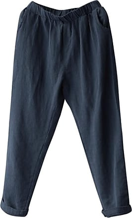 QUINTRA Plus Size Women Linen Harem Pants Baggy Loose Trousers Casual Lady (4XL, Navy)